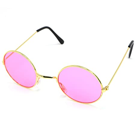 63da22ac9a4f Amazon.com: Skeleteen John Lennon Hippie Sunglasses - Pink 60's Style  Circle Glasses - 1 Pair: Sports & Outdoors