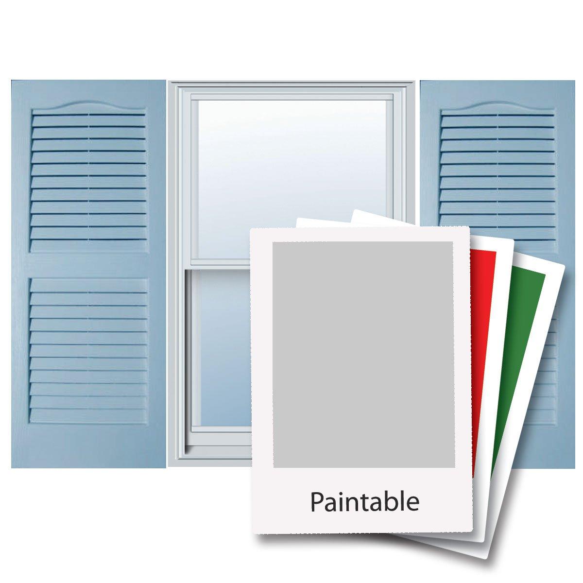 14'' x 62'' Builders Choice Vinyl Open Louver Window Shutters, w/Shutter Spikes & Screws (Per Pair), Paintable