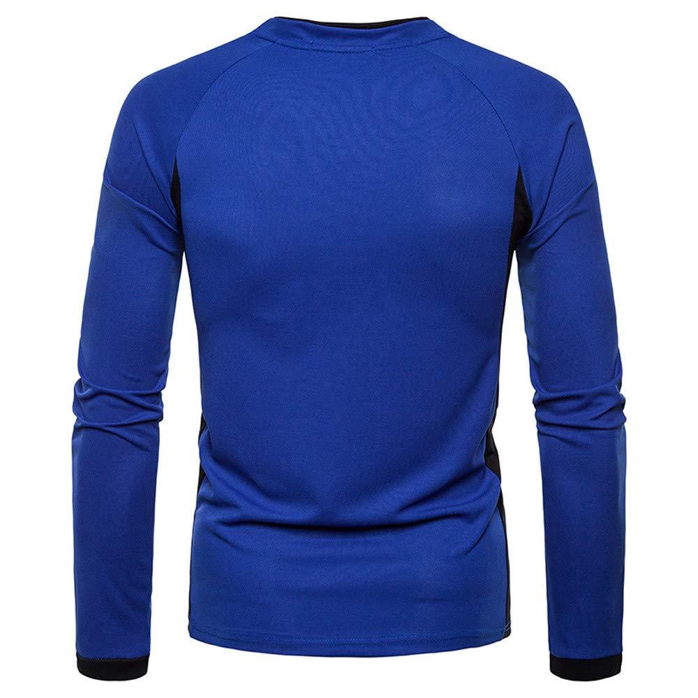 Yvelands Camisas para Hombre Slim Fit, Camisa de Manga Larga Casual para Hombre Henry Costuras Irregulares Top: Amazon.es: Ropa y accesorios