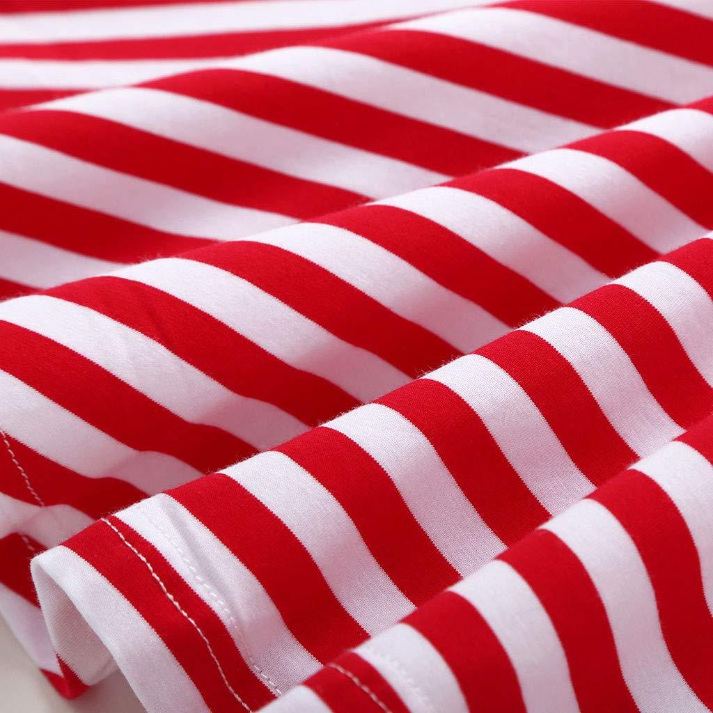 Jchen Little Girl Christmas Dress Kids Little Girls Long Sleeve Stripe Heart Print Party Princess Dress Tops for 0-4 Y TM