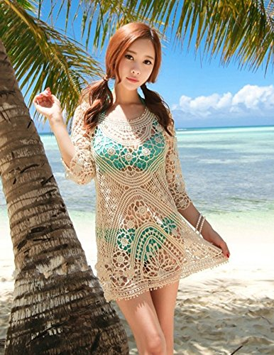 Rückenfrei Bikini Boho Aprikose Minetom Sexy Damen Kleid Kittel Dress Hohlen Size Crochet Sommer One Cover Spitze Strand Mini Up