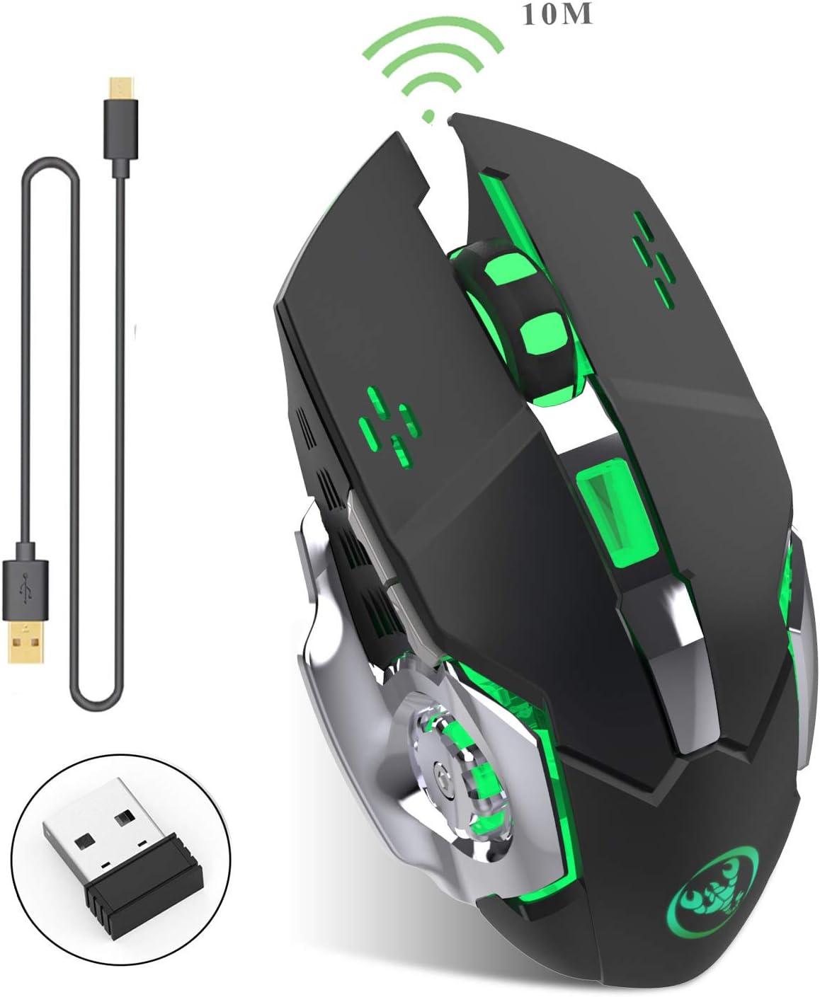Zienstar Recargable 2.4Ghz Ratón para Gamer Inalámbrico con 7 Colores Retroiluminado (Batería de Litio de 600 Mah) (M70 Negro)