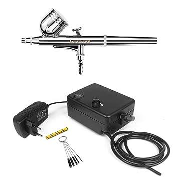 Airbrush Komplett Set Kompressor Pistole Lackierpistole Modellbau Werkzeug