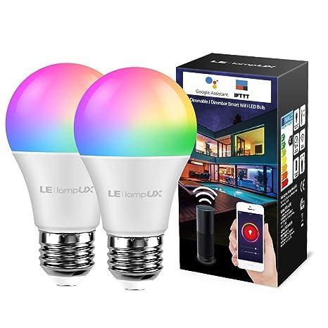LE LampUX Bombilla Inteligente Wifi E27, Funciona con Alexa and ...
