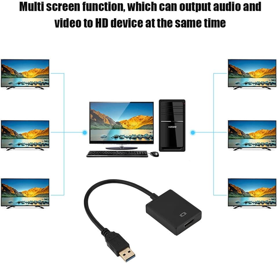 Suchinm HDMI Converter Durable USB 3.0 to Vedio External Adapter Converter Transfer Cable for PC HDTV Home Laptop