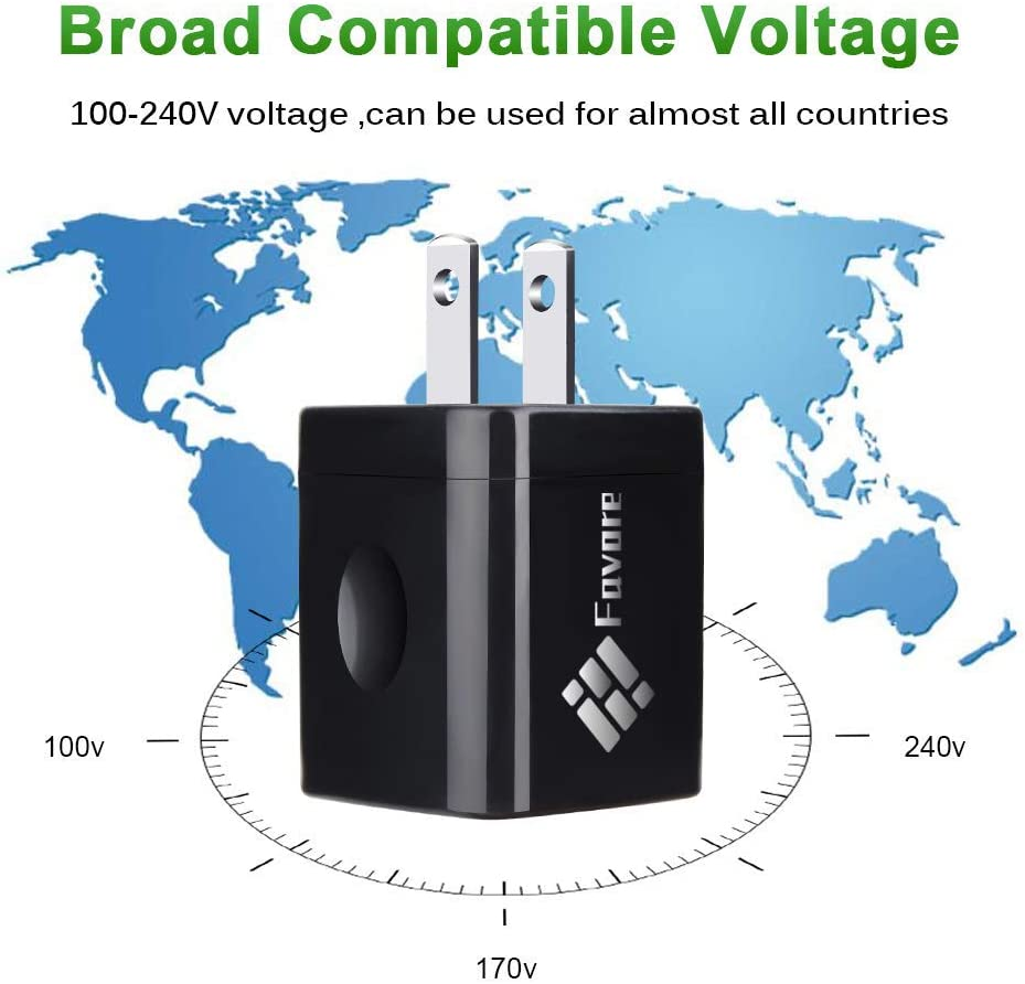 Ultra Compact Dual Port 1.0A-2.1A Output Favored USB Wall Charger