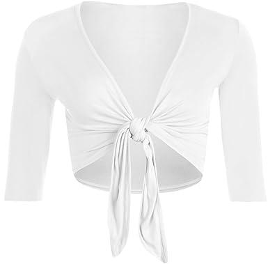 WearAll - Boléro à manches mi-longues avec un noeud - Cardigans - Femmes - b7f2198963b