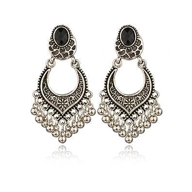 ddade4234 Women Dangle Earrings Bohemian Vintage Engraved Tassel Earrings Traditional  Berkey Earrings Indian Bollywood Jewelry Gold Plated