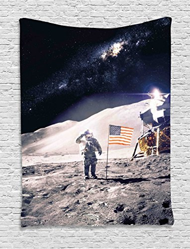 Ambesonne Space Tapestry, Astronaut on Moon with American Flag Invasion Rocket Cosmonaut Mission Photo Print, Wall Hanging for Bedroom Living Room Dorm, 60 W X 80 L Inches, Taupe Blue