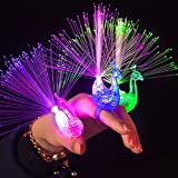 Anniston Kids Toys, 3Pcs Novelty LED Peacock Finger Light Light-up Rings Kids Party Gadgets Toys Classic Toys for Baby Children Toddlers Boys & Girls, Random Color