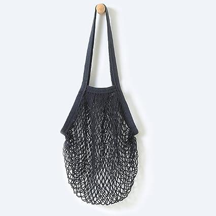 236232347e22 Flyou Portable Reusable Mesh Cotton Net String Bag Organizer Shopping Tote  Handbag Fruit Storage Shopper NEW (black)