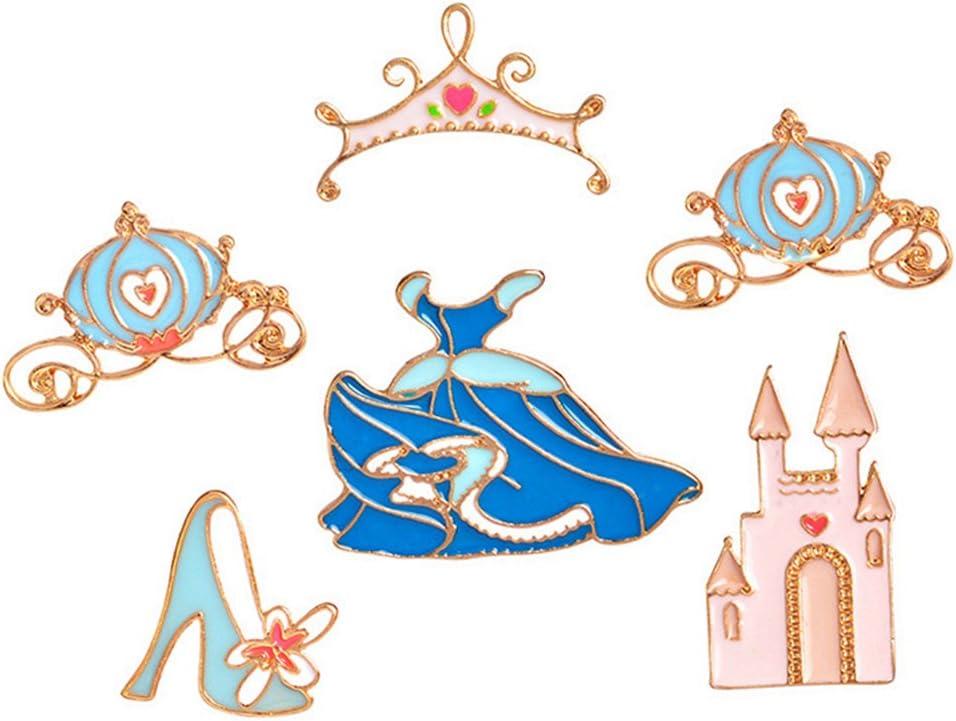 Pink Princess Star Castle Lapel Pin Badge Crystal Enamel Brooch