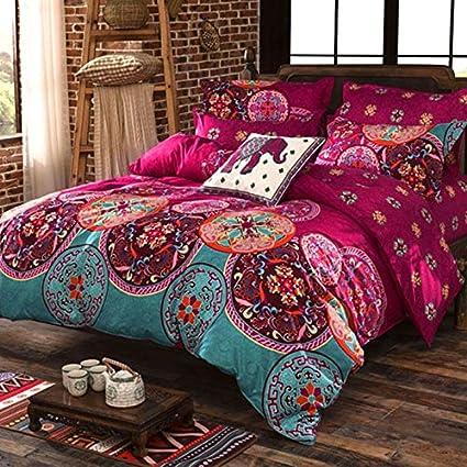 hootecheu Parure de Lit 2 Personnes 3 pièces Housse de Couette 200 x 200 +  2 Taies D\'oreillers 73 x 45 Rouge Floral Vintage Orientale pour Chambre ...