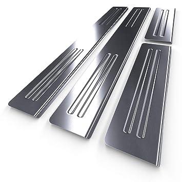 Protectores de acero para umbral de coche - plata - mate - kit de 4 piezas - 5902538710756: Amazon.es: Coche y moto