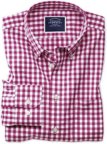 Charles Tyrwhitt Camisa sin Plancha roja de Popelina Extra Slim fit a Cuadros Vichy con Cuello con Botones: Amazon.es: Ropa y accesorios