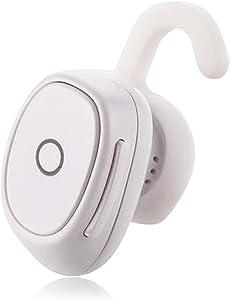 Bluetooth Earbud Mini Wireless Earphones Stereo Headphone Noise Cancelling Headset for iPhone X 8 7 Plus 6S 5S SE Samsung S8 S7 Edge S6 Note 8 5 LG Motorola HTC BLU (White)