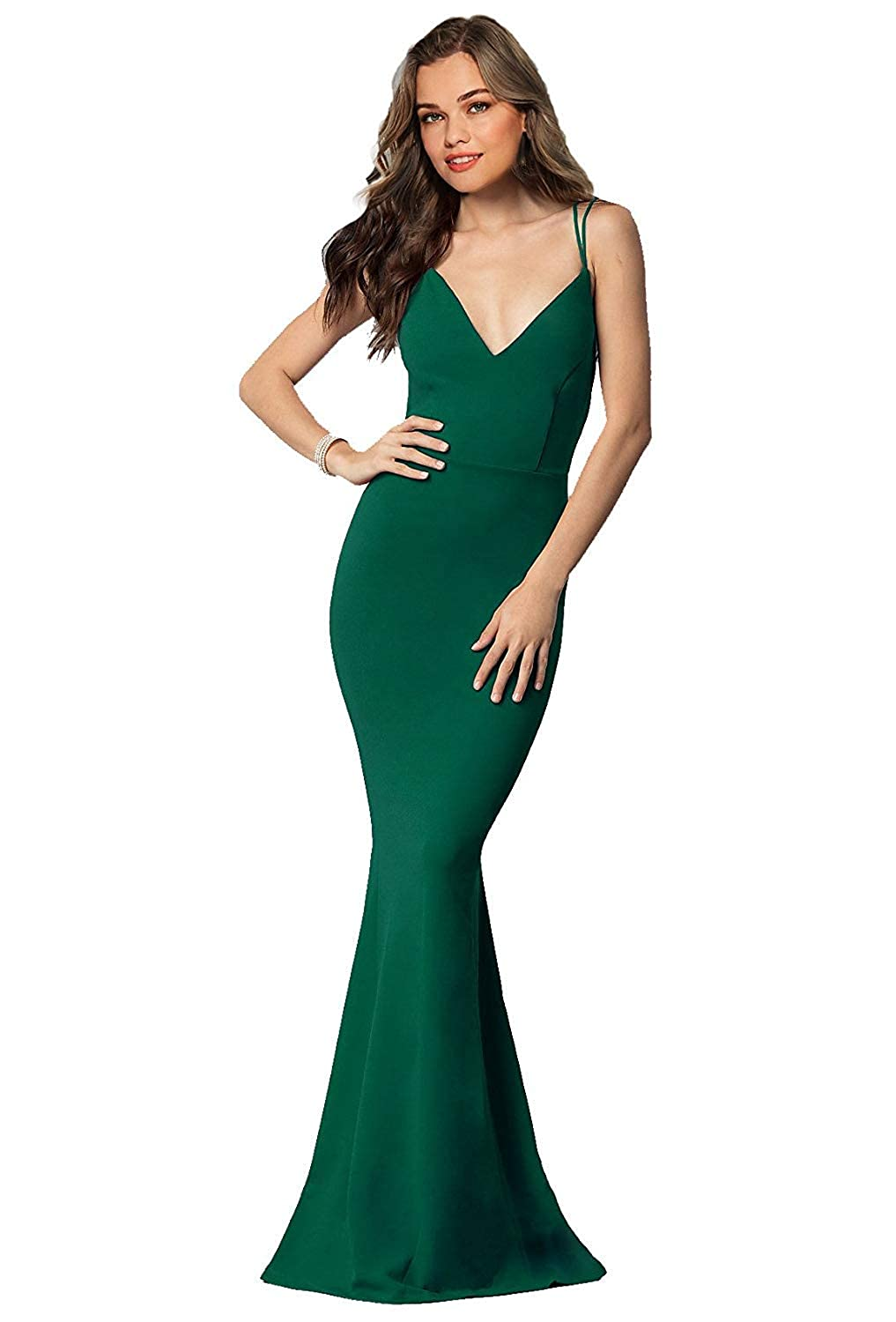 Emerald Green Sulidi Women's Long Sexy Mermaid Prom Dresses Backless Evening Formal Party Ball Gowns