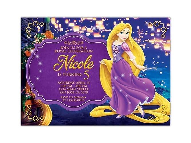 Amazon Com Custom Tangled Rapunzel Birthday Party Invitations For