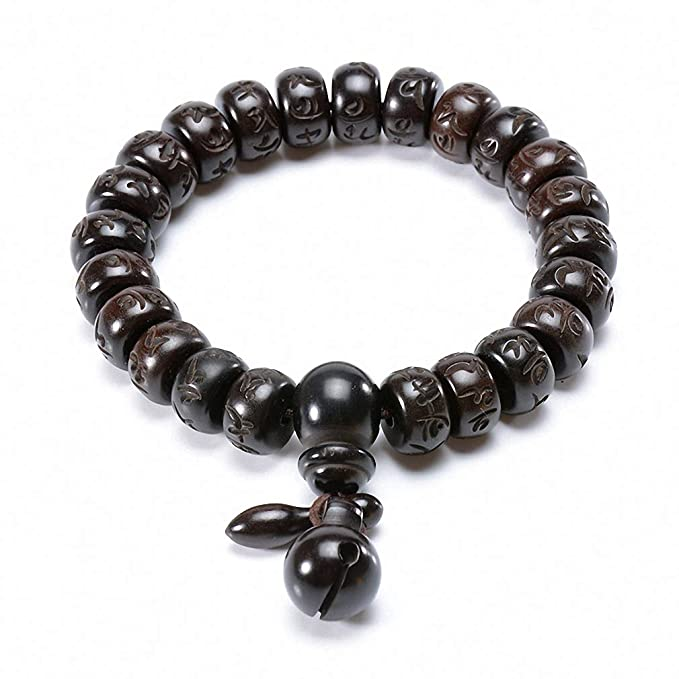 55550b7fe5 Image Unavailable. Image not available for. Color  Tibetan Buddhist Mala Buddha  Bracelet Natural Wood Bead Bracelet Om Meditation Yoga Prayer Bracelets