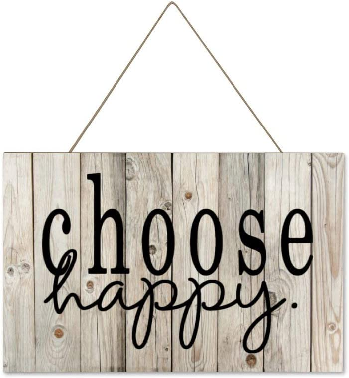 DONL9BAUER Choose Happy Happiness Hanging Wood Sign Plaque Wall Decor Sign Inspirational Quote Rustic Wall Art for Living Room Indoor Outdoor