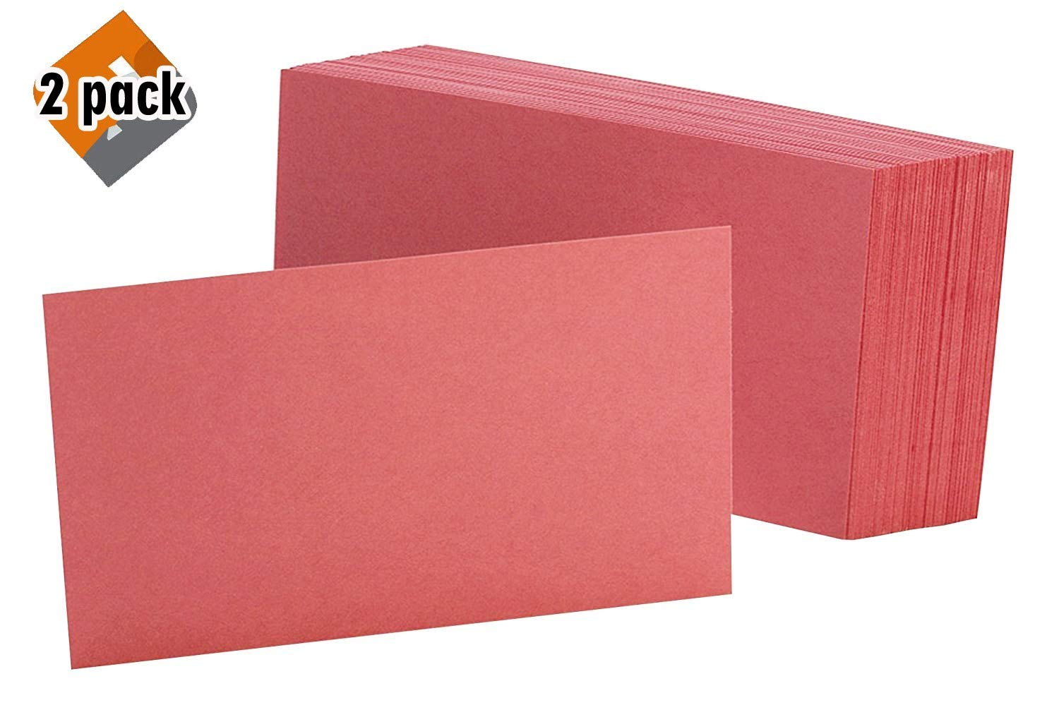Oxford Blank Color Index Cards, 3'' x 5'', Cherry, 100 Per Pack (7320 CHE) 2 Pack