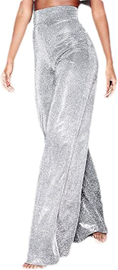 Memories Love Women's Loose Fit Shiny High Waisted Fashion Wide Leg Pants