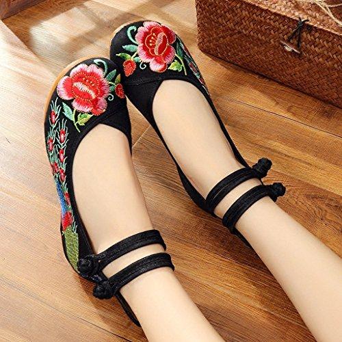 di ricamate piane scarpe nero stile Colore Black cinesi 34 di elegante nozze le modo etnico scarpe Black dimensioni Le slittano 5wOqPO