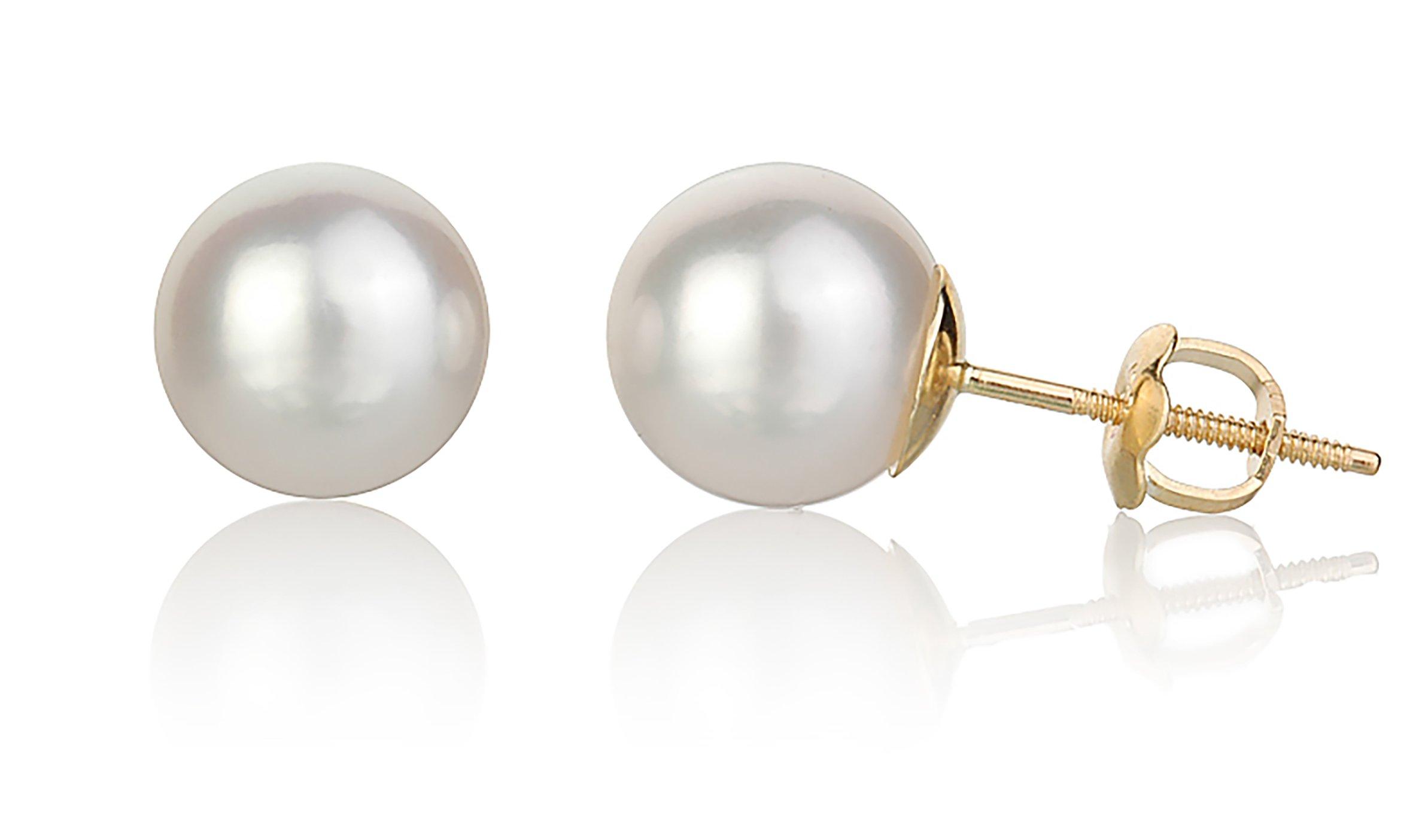 ISAAC WESTMAN White Japanese Akoya Cultured Pearl Stud Earrings (8.5-9mm)   AAA High Luster Pearls   Screw Back