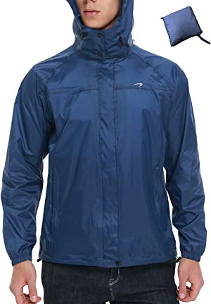 Men's Cycling Running Jacket Waterproof Raincoats Hooded Windbreaker Rain Jacket for Running, Fishing, Hiking