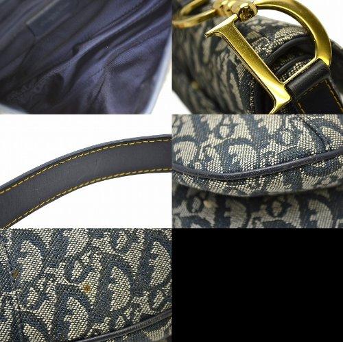 822bd26321bc Amazon | [クリスチャン ディオール] Christian Dior サドルバッグ トロッター柄 ショルダーバッグ ワンショルダー ネイビー  RU0041 [中古] | Dior(ディオール) ...