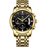 Men's Watches Luxury Fashion Casual Dress Chronograph Waterproof Military Quartz Wristwatches for Men Stainless Steel…