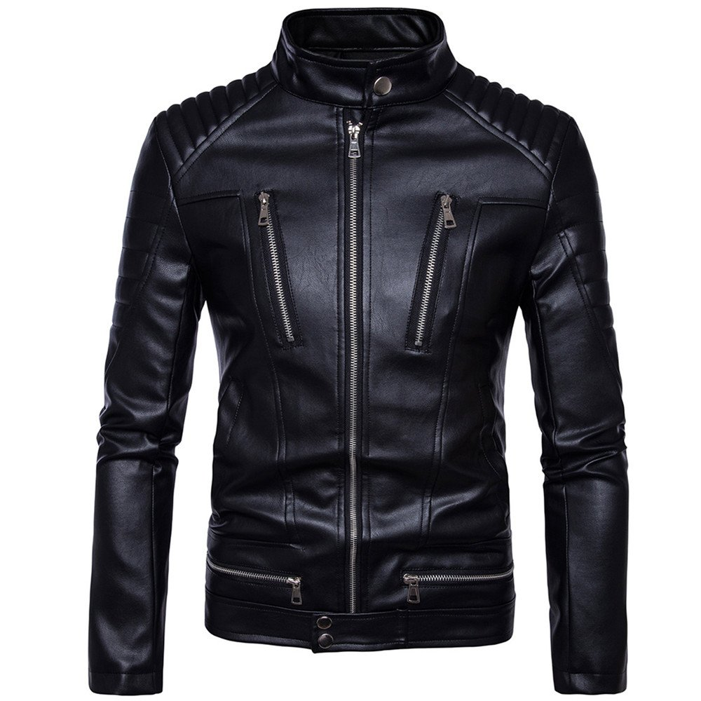 QJH Men's Vintage Stand Collar PU Leather Jacket Coat by QJH