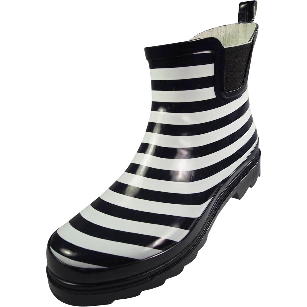 NORTY - Womens Ankle High Striped Rain Boot, Navy, White 39724-9B(M) US