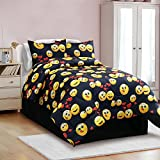 Twin Size Emoji Bed in a Bag Veratex the Emoji Madness Collection Modern Juvenile Kids Bed Comforter and Sheet Set, Twin Size, Black, 3 Piece
