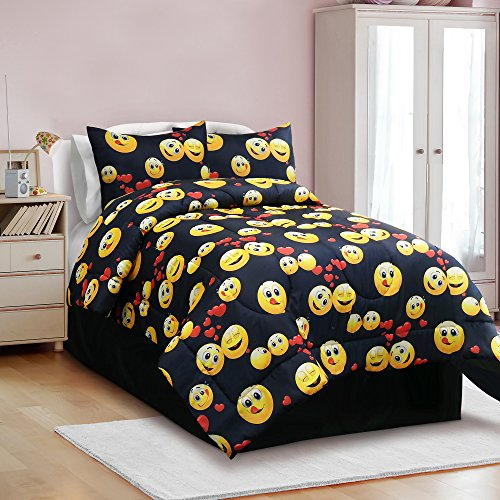 Veratex The The Emoji Madness Collection Modern Juvenile Kids Bed Comforter & Sheet Set, Full Size, Black, 4 Piece