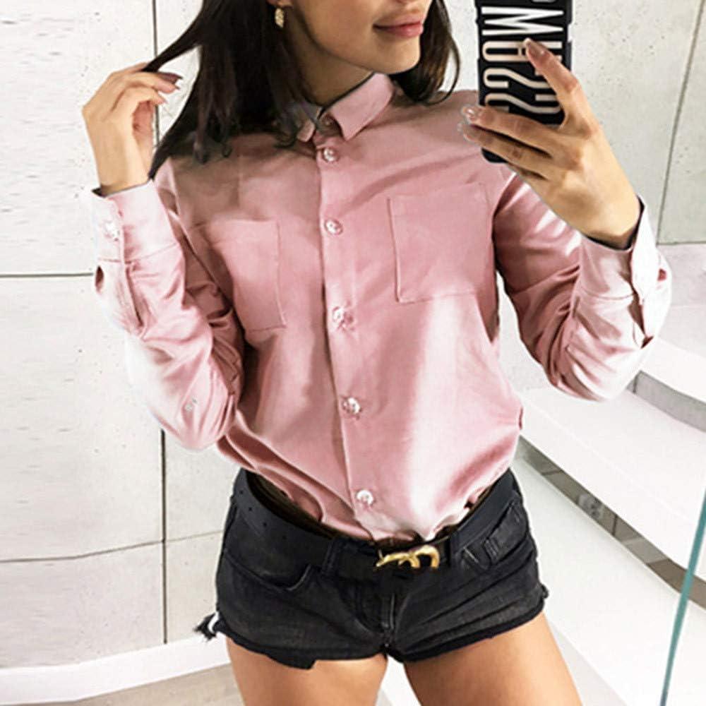Camisa de manga larga de color sólido para mujer, para oficina, informal, suelta, con solapa, con botones, tallas grandes de 10 a 20, Rosa, xx-large: Amazon.es: Iluminación