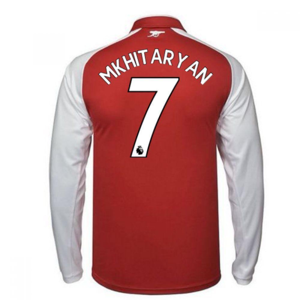 2017-18 Arsenal Home Long Sleeve Football Soccer T-Shirt Trikot - Kids (Henrikh Mkhitaryan 7)