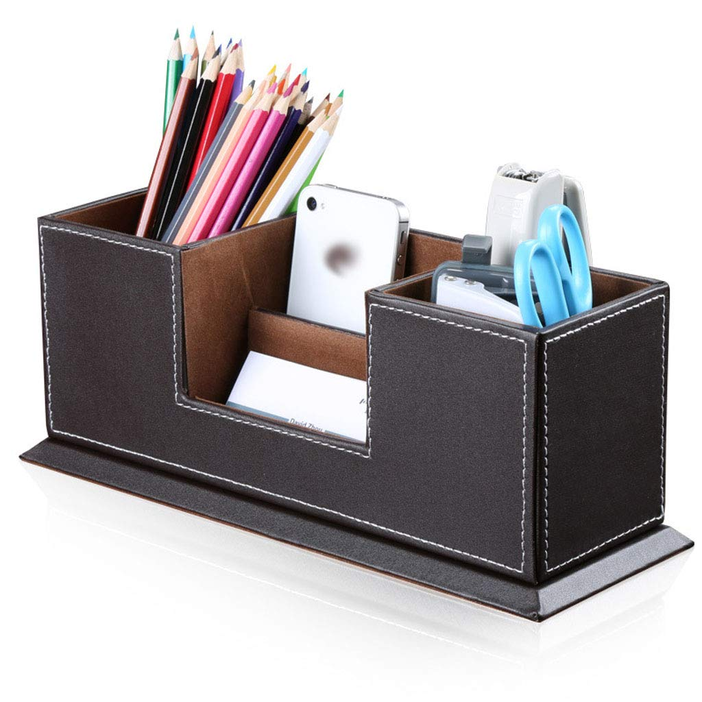 Desk Organizer Upright Pen Holder, Multifunctional Office Storage Compartments Leather for Stationery Pen Accessories-Brown by ZHFEL
