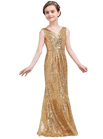 Amazon.com: hengyud Golds Sequins V-Neck Pageant Dress Long Flower ...