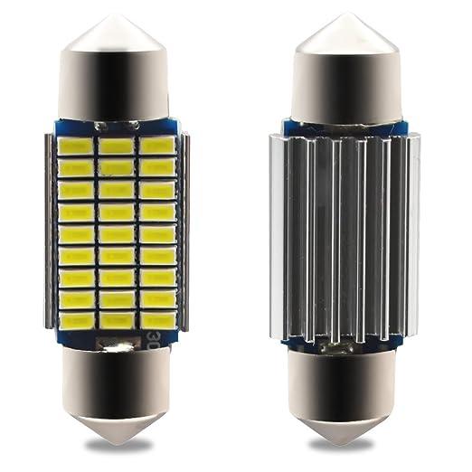 Kashine C5W LED 36mm Canbus 27SMD 3014 6411 6418 3W Bombilla LED Luz Interior de Coche Festoon Lámpara Xenón Blanco 6000K 12V (4 Piezas)