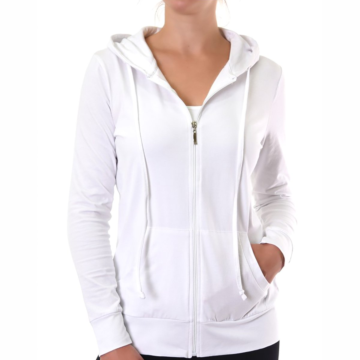 Glass House Apparel Women's Zip up Active Yoga Gym Casual Thin Cotton Long Sleeve Jacket Hoodie (White, Large)