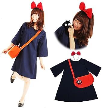 魔女っ娘ワンピ キキ 風 コスプレ 衣装 4点 セット ( ワンピース カチューシャ バッグ くろねこ