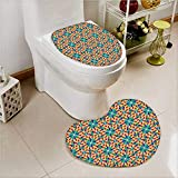 Non Slip Bath Shower Heart shaped foot pad Islamic s with al Shapes Oriental Motifs Art Work 2 Pieces Microfiber Soft