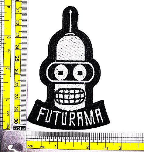 Futurama Costumes Bender (FUTURAMA TV Show Bender Patch Logo Sew Iron on Embroidered Appliques Badge Sign Costume)