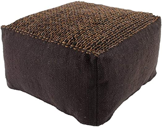 Cotton Leather Top Pouf