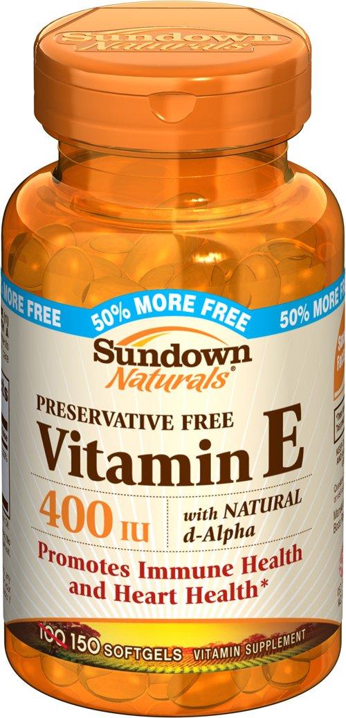 Sundown Naturals Vitamin E D-Alpha Water Soluble Supplement, 400 IU, 100-Count Bottles (Pack of 3)