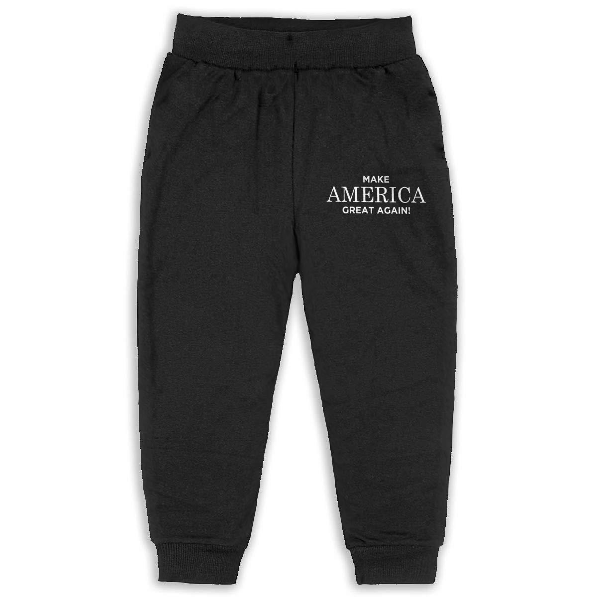 LFCLOSET Make America Great Again Children Active Jogger Sweatpants Basic Elastic Sport Pants Black