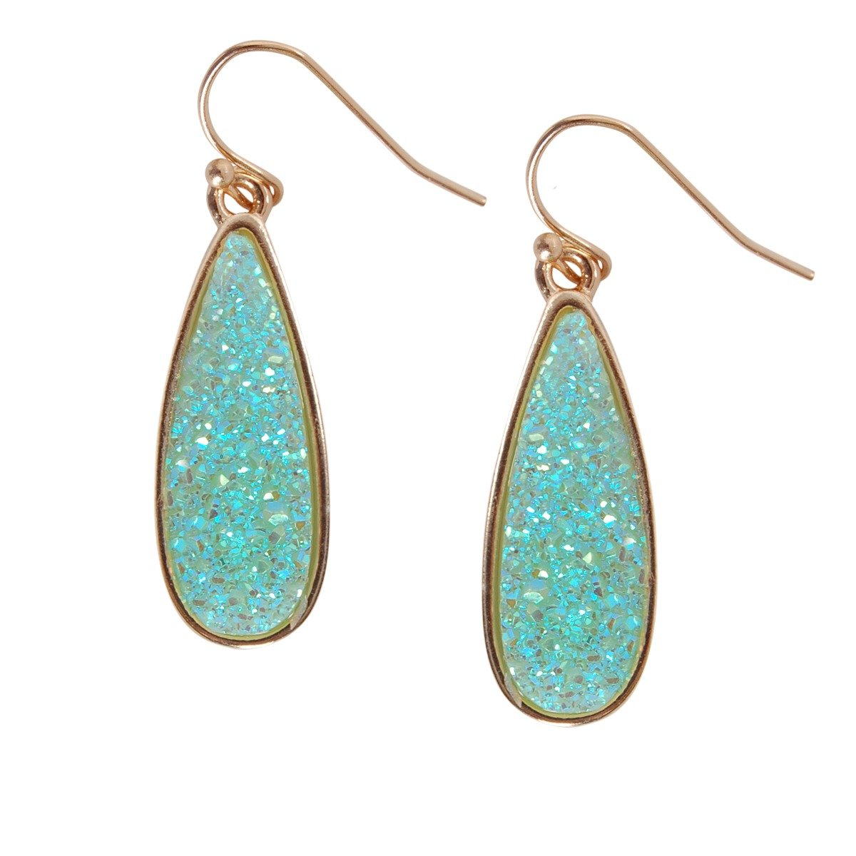 Humble Chic Simulated Druzy Drop Dangles - Sparkly Long Teardrop Dangly Earrings, Simulated Turquoise, Simulated Aquamarine, Mint, Aqua, Simulated Jade, Gold-Tone