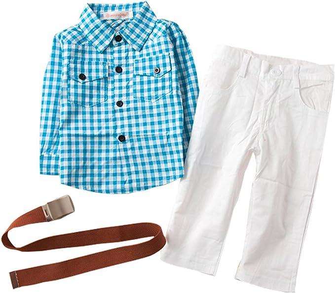 fayale 3pcs bebé niños de manga larga cuadros camisa + pantalones + cinturón de General Outfit Set