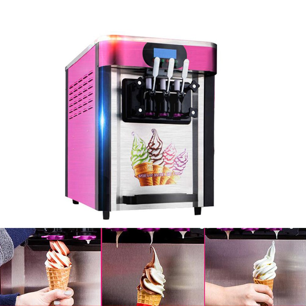 vinmax Commercial Ice Cream Machine Soft Ice Cream Making Machine with 3 Flavors Desktop Small Automatic Drum Ice Cream Machine Without Refrigerant 110V (Pink)